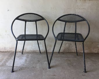 Mid Century Modern Salterini Folding Patio Chairs - Set of 2