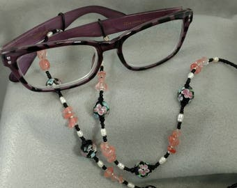 Delicate Pink Flowers Reading Glasses Chain