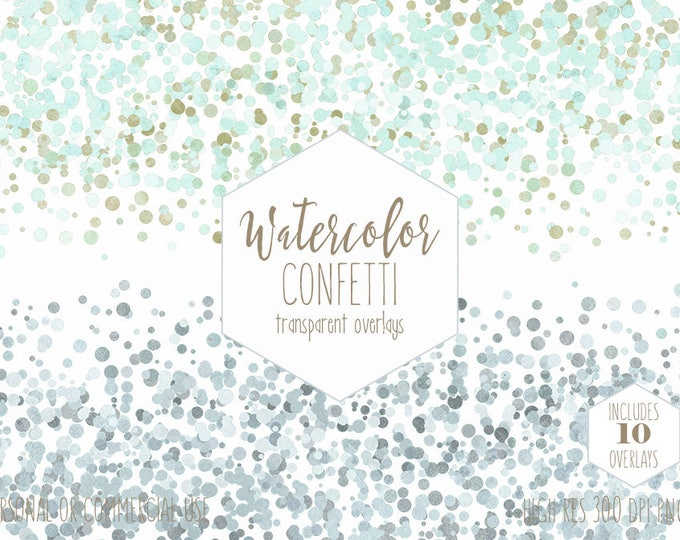 WATERCOLOR CONFETTI BORDER Clipart Commercial Use Clip Art Confetti Dot Transparent Overlay Mint Blue Gray Party Wedding Invitation Graphics