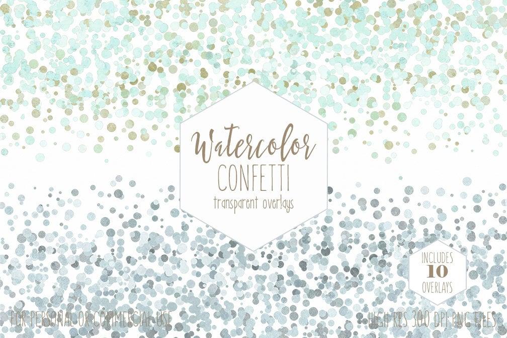 WATERCOLOR CONFETTI BORDER Clipart Commercial Use Clip Art Confetti ...