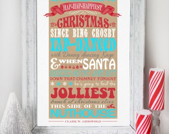 Christmas Vacation Quote - INSTANT DOWNLOAD - Clark Griswold *CENSORED* Clean Version Quote - Red & Aqua Poster Print Decoration by Sassaby