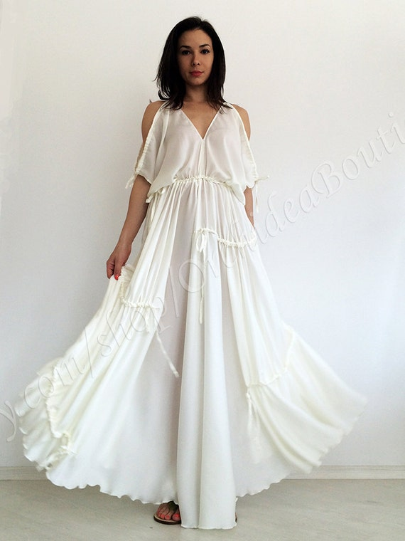 Beach wedding dress/ White maxi dress/ Kaftan dress/ Loose