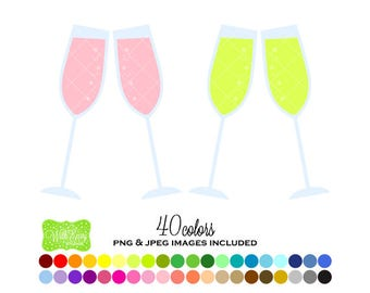 SALE Champagne Digital Clipart - Rainbow Champagne Glass Clipart - Champagne Clipart - Champagne Graphics - Personal and Commercial Use