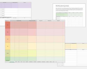 Social Media Planner – Editorial Calendar Spreadsheet – Online Marketing Planner Spreadsheet – Marketing Strategy – Social Media Organiser