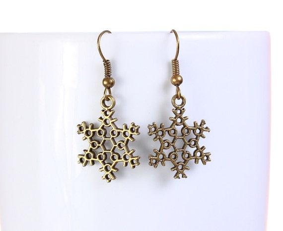 Sale Clearance 20% OFF - Antique brass snowflake drop dangle earrings (764)