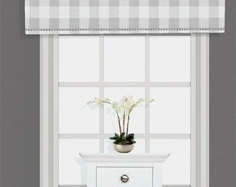 Custom Cornice Board Valance Box Window Treatment in Buffalo Check - Curtain Window Box Light Gray & Custom Cornice Board Valance Box Window Treatment Custom