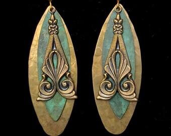 Art Deco earrings,  hammered metal earrings, lightweight earrings, patina jewelry, long earrings, Boho