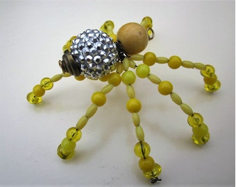Spider Beaded ,Yellow, Clear Yellow,Silver.