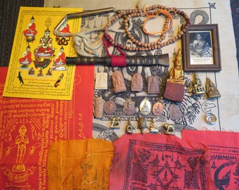 Buddhist Temple Amulet Lot From Thailand