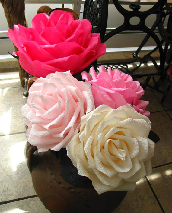 Giant paper rose Hot pink 9 rose and 3 pcs 7