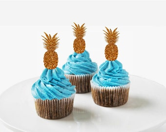 Wedding Cupcake Toppers Pineapple Cupcake Toppers Tropical Wedding Cupcake Toppers Pineapple Party  Beach Party Summer Birthday
