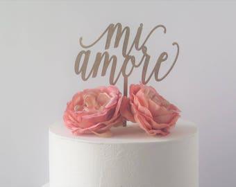 Laser Cut Wood Cake Topper mi amore/love/wedding/shower