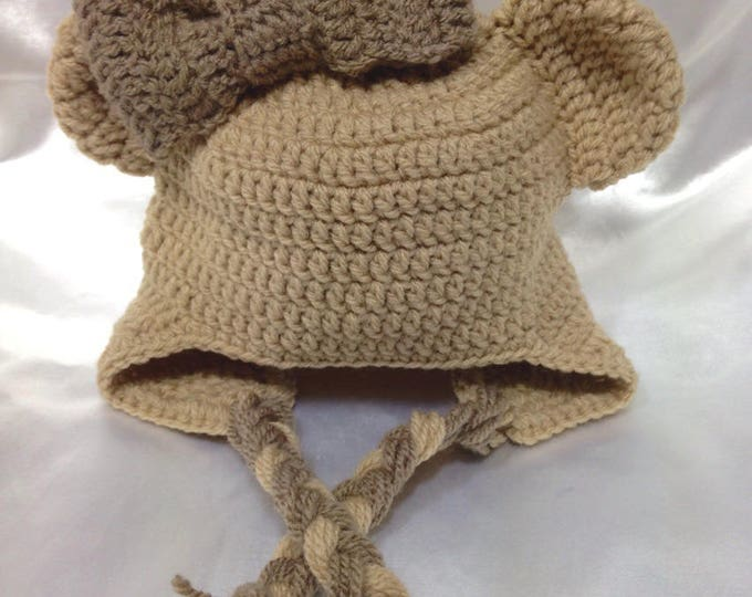 """Peruvian """"Bear ears"""" with a crocheted baby bow"""