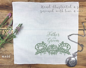 Father of the Groom Pocket Square, Wedding handkerchief, Men's pocket square, Father pocket square, - text as shown