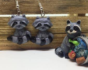 raccoon trash panda polymer clay dangle earrings