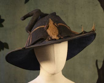 Witch Hat in Black with Large Bat - Black Witch Hat -  Curly Witch Hat - Wide Brimmed Witch Hat