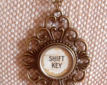 CLEARANCE! White typewriter key necklace / SHIFT key / shabby distressed white typewriter key / bronze tone pendant pendant