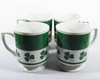 Lefton China 3 leaf clover St Patrcks Day coffee cups mugs