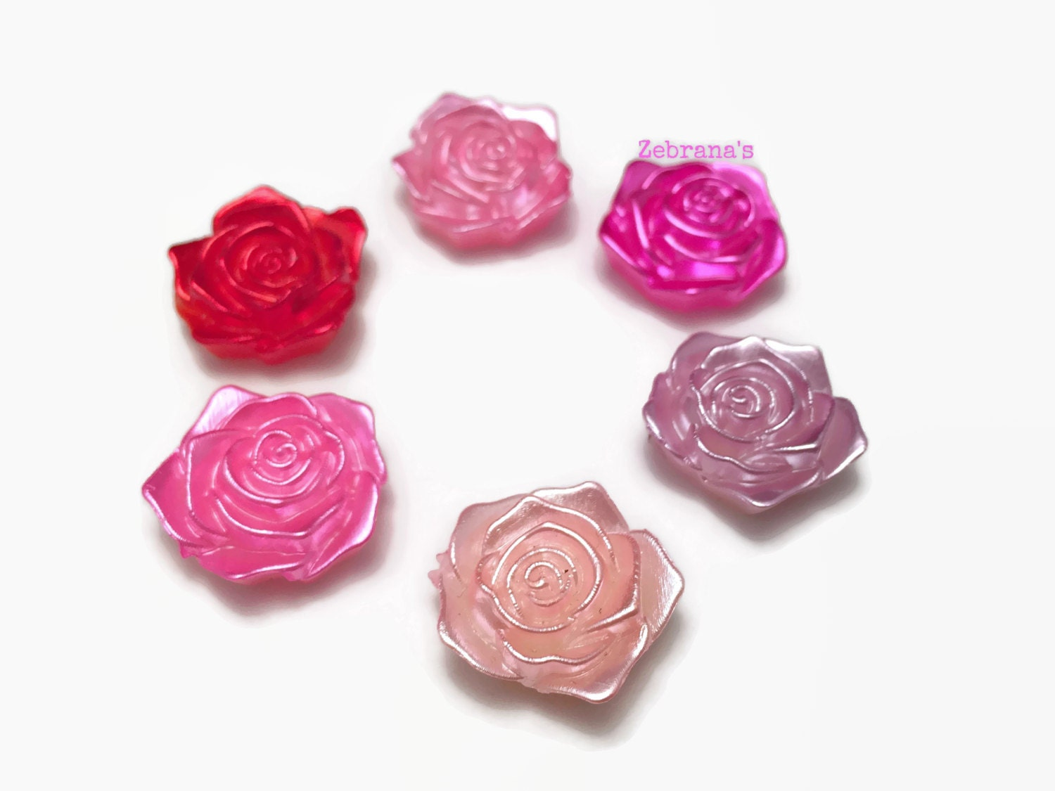 Plastic rose magnets set of 6 handmade magnets magnets rose