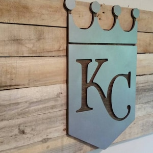 Kansas City Royals Sign with Maple Backdrop  Metal Style Sign  MDF Board Cut Out Logo With Faux Metal Finish  Rustic Pallet Wood