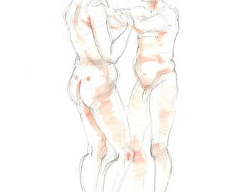 Nude pencil drawing with terracotta pastel. Life sketch. Two figures, male, female, couple.  Art by Nancy Farmer. LD-03-2016&REV