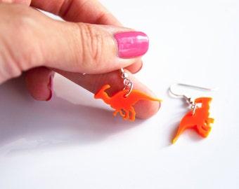 Parasaurolophus Earrings, Dinosaur Earrings, Drop Earrings, Laser Cut Acrylic, Dangly Earrings, Jurassic Park, Dinosaur Jewellery, For Her