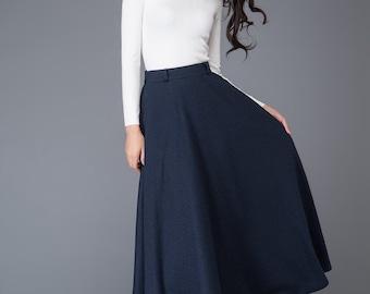 Wool skirt, Vintage skirt, maxi skirt, wool skirts, navy skirt, Circular Skirt, winter skirt, womens skirts, skirt, long wool skirt C1006
