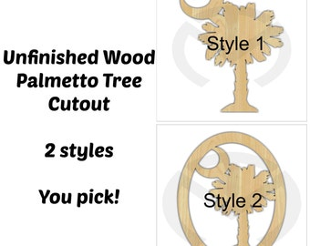 Palmetto Tree -01648- Unfinished Wood  Laser Cutout, Home Decor, Door Hanger, Ready to Paint & Personalize, Summer, Various Sizes, 2 styles