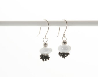 BLACK AND WHITE Earrings  White  with Black Seed Bead Earrings with Hypoallergenic earring wires