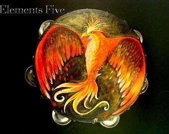 Tambourine, Hand Painted Tambourine, Art Tambourine, Beautiful Tambourine, Phoenix Tamborine, Bird Tambourine, Tambourine Gift for Musician