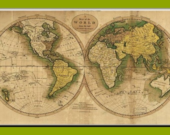 Antique world maps, canvas, Old World Map, ancient maps, World 1795, 22
