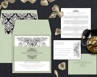 Mandala Wedding Invitations, Eco Green and White Invites