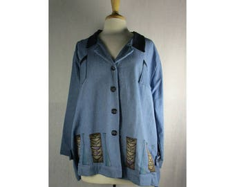 Tab Denim Jacket - Indigo Denim XL 1X by Blue Fish Red Moon Clothing Ready to Ship
