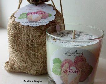 Jar candle scented with lychee