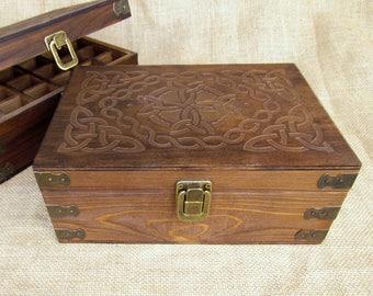 Celtic Design Wood Storage Box for 15ml Essential Oil Bottles