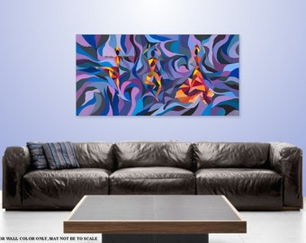 Wall Art Contemporary home decor Abstract Figure acrylic Figurative Giclee on Canvas Red Magenta, Purple Paintings TITLE: Dancing with Color