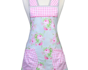 Vintage Women's Apron Old Fashioned 1940-1950's Kitchen Cooking Style in Pink Rose on Gray Trimmed in Pink Gingham - Personalize for Mother