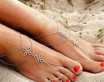 Pair of Dainty Silver Flowers Barefoot Sandals, Barefoot sandals, Beach wedding Barefoot Sandal, Barefoot shoes, Bridal, **FREE SHIPPING**