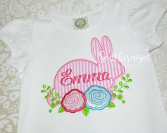 Girls Easter Shirt, Monogram Easter, Personalized Easter, Easter Shirt, Seersucker Easter, First Easter, Easter shirt with name, Girls