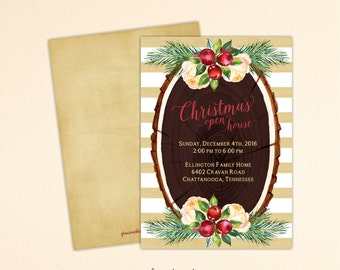 Christmas Open House Invitation, Holiday Neighborhood Party Invitation, Holiday Open House Invite, Corporate Holiday Open House, C13011