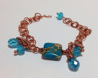 Turquoise Imperial Jasper and Crystal Copper Charm Bracelet Adjustable Up to 8 Inches One of a Kind Previously 30 Dollars ON SALE