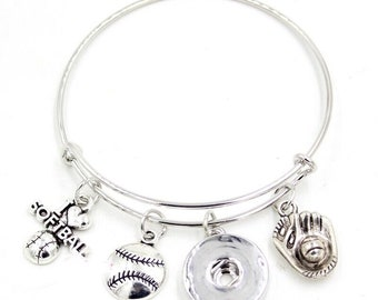 Softball - Sports - Themed Bangle Bracelet - Customize with one of Our Snaps - Includes Three Pictured Charms and Your Choice of Snap