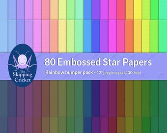 80 rainbow colored embossed star scrapbooking papers, star digital papers, rainbow stars paper,  star scrapbook paper - INSTANT DOWNLOAD