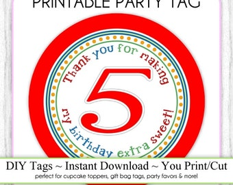 Instant Download - 5th Birthday Printable Party Tag, Birthday Party Tag, DIY Cupcake Topper, You Print, You Cut