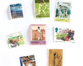 8 x Cricket postage stamps - from 5 countries, used, off paper, all different - Lords The Ashes Stumps - for collecting, crafts