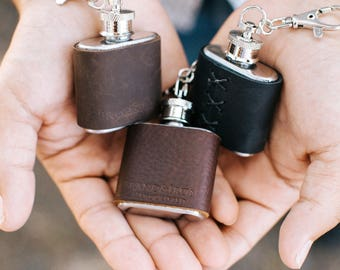 1 oz leather keychain flasks, customizable, horween leather, custom flask, gift idea, small flask, mini, personalized leather flask, novelty
