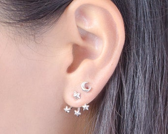Tiny Stars Ear Jacket, Sterling Silver, Gold Plated, Dainty Earjackets, Jacket Earrings, Star Stud Earrings, Edgy Gift for Mom, LUNAI EJK007