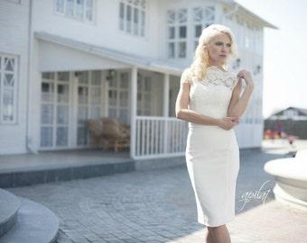 Short Wedding Dress, Ivory Short Lace Wedding Dress, Crepe and Lace Dress L7, Romantic wedding gown, Classic bridal dress, Custom dress