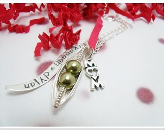 Personalized Necklace - Hand Stamped Mom Necklace - Peas in a Pod Necklace with Wave Tag and Mom Charm - Sterling Silver Mom Jewelry