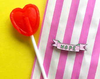 Nope Enamel Pin Badge Funny Anti Valentine's Day pin - funny Pin Brooch - Cute nope negative pastel pink and turquoise Pin Badge